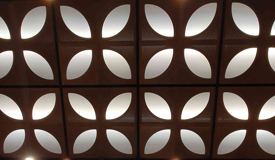 Naturalis detailfoto - plafondbekleding auditorium